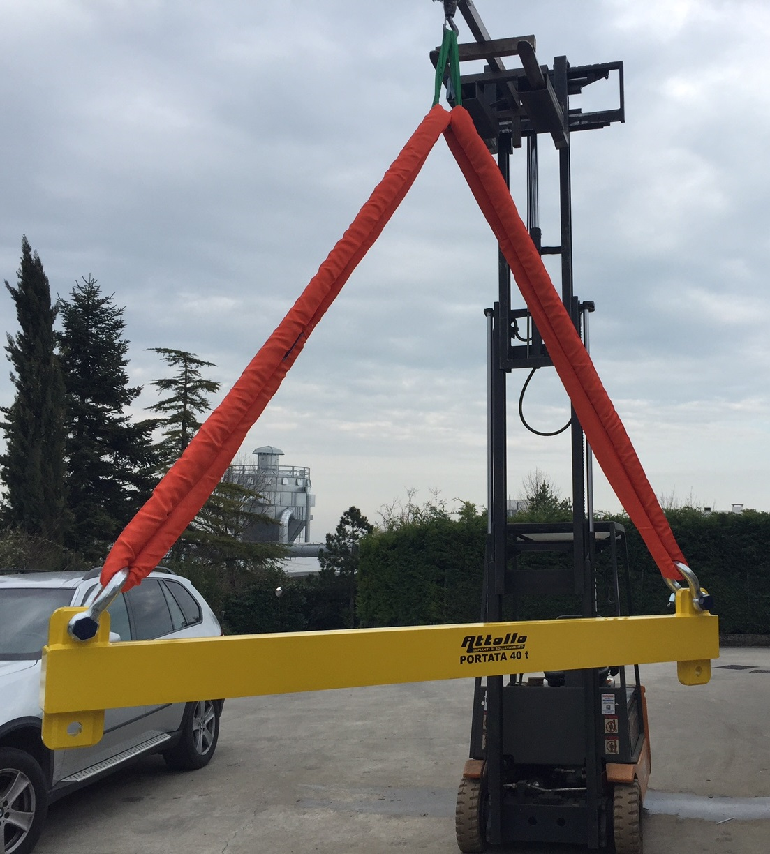 spreader beam for container, skid